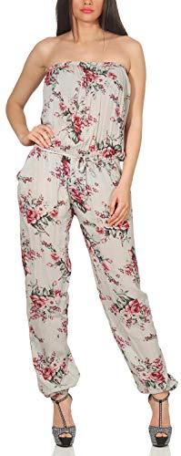Malito Damen Einteiler geblümt   Overall mit Stoffgürtel   Jumpsuit mit Blumenmuster – Playsuit – Romper 1495 (hellgrau)