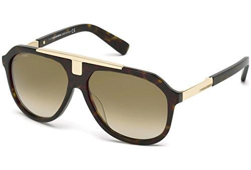 DSQUARED2 DQ0206 52P 58 Monturas de gafas, Marrón (Avana ScuraVerde Grad), 58.0 Unisex Adulto