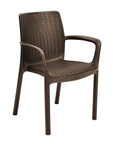 Keter Bali Set de 4 sillas de jardín, Marrón