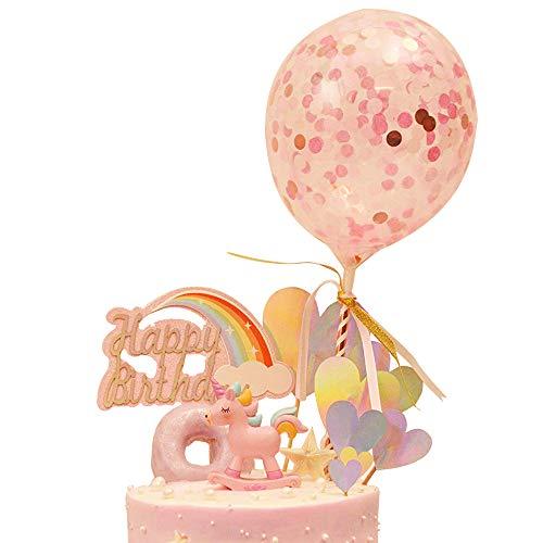 DEHUB Pastel de cumpleaños para Decoración para Pasteles, Unicornio Hecho a Mano decoración de la Magdalena Topper con Globo de Confeti(Rosa)