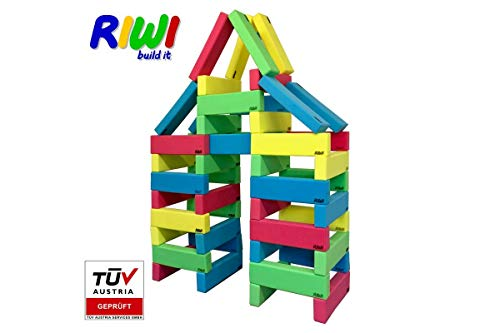 RIWI 48 Building Blocks XXL Soft Foam Blocks   Machine Washable   ASTM F963 and TÜV Austria Certified