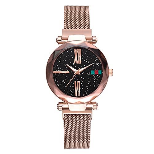 Reloj de pulsera - Elegante reloj de pulsera de cuarzo con esfera redonda y esfera redonda para hombres (oro rosa)