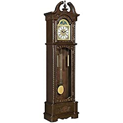 BOWERY HILL Grandfather Clock with Adjustable Volume Digital Chime in Rich Brown