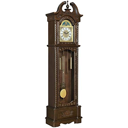 BOWERY HILL Grandfather Clock with Adjustable Volume Digital Chime in...