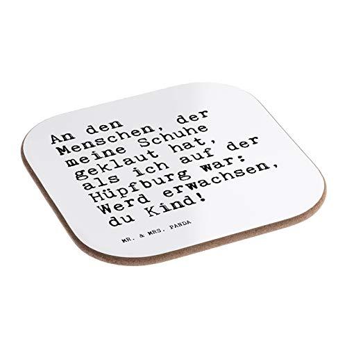 Mr. & Mrs. Panda Quadratische Untersetzer mit Spruch An den Menschen, der Meine Schuhe geklaut hat, als ich auf der Hüpfburg war: Werd erwachsen, du Kind!