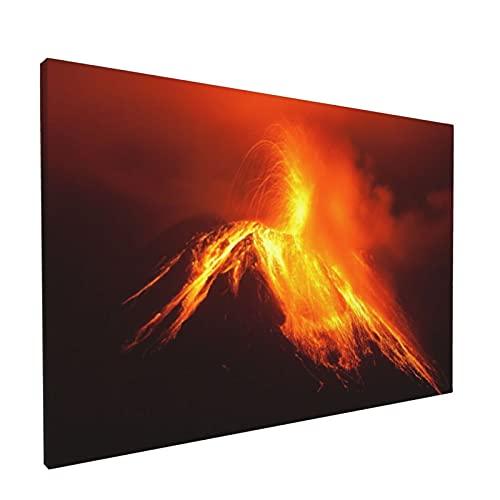 PATINISA Cuadro en Lienzo,Volcán Tungurahua en Ecuador explotando por la noche Naturaleza y geología,Impresión Artística Imagen Gráfica Decoracion de Pared