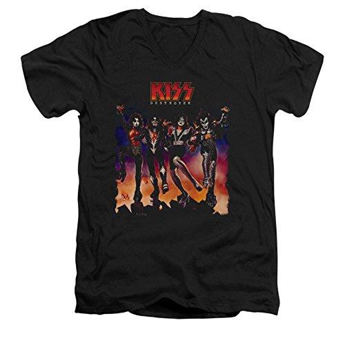 Kiss - Männer mit V-Ausschnitt T-Shirt Destroyer Abdeckung, X-Large, Black