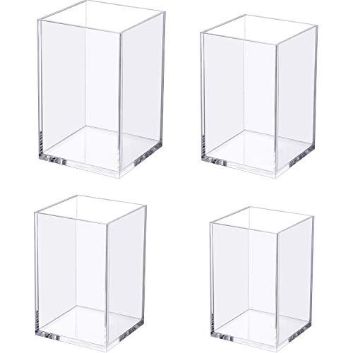 4 Pezzi Portapenne Trasparente Acrilico, Base Addensata Chiaro Portapenne del Desktop Organizzatore di Cancelleria per Accessori da Scrivania, 4 Dimensioni