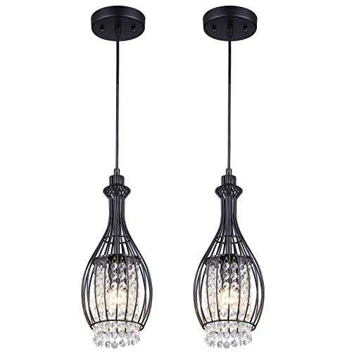 Cuaulans 2 Pack Retro Vintage Industrial Pendant Light Fixtures, Oil Rubbed Black Basket Cage Pendant Lighting Hanging Ceiling Lamp with Crystal Beads for Kitchen Island Window Bathroom Foyer Stairway