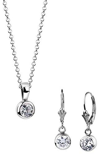 Nenalina Damen Solitär Schmuckset, Halskette mit Solitär-Anhänger und Ohrhänger mit Zirkonia, Damen Kette und Ohrring Set für Frauen, 925 Sterling Silber, Länge 45cm