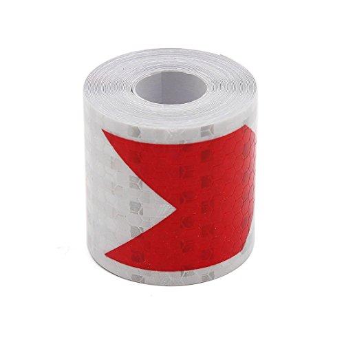 sourcing map 400 x 5cm Motif Flèche Adhésive Collant Réfléchissant Rouge Blanc Décor Voiture