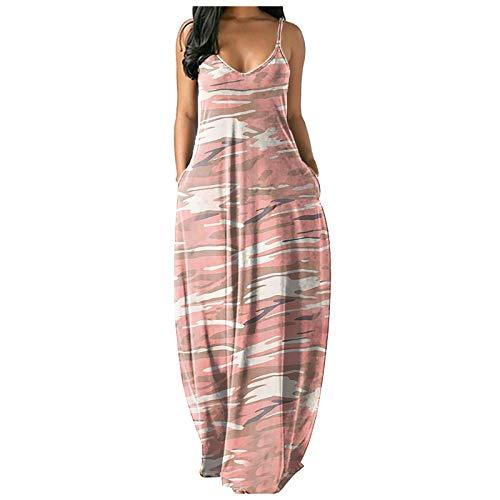 Qigxihkh Damen ärmellose Loose Plain Maxi Kleider Casual Weste Langes Kleid Mit Taschen(13-Rosa, XL)
