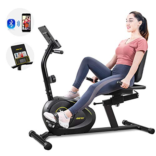 Merax Magnetic Recumbent Exercise Bike | 8-Level Resistance | Quick Adjust Seat (Black/Yellow)