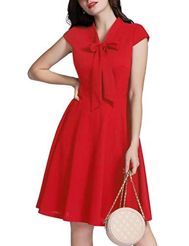 MuaDress 6233 Damen Cocktailkleid Herzform 50er Vintage Kleid Retro Rockabilly Kleid Rot 2XL