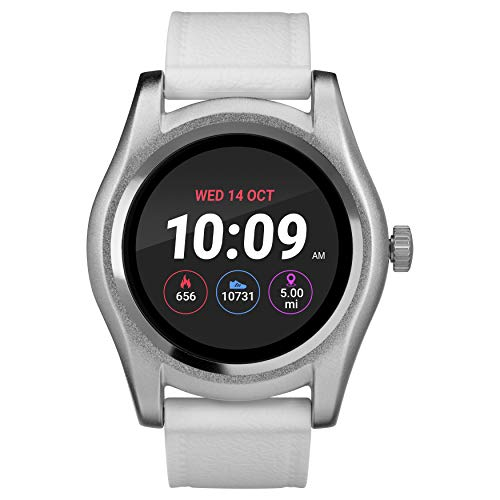 iConnect by Timex TW5M31700 Silver-Tone Round Smartwatch, White Silicone Strap