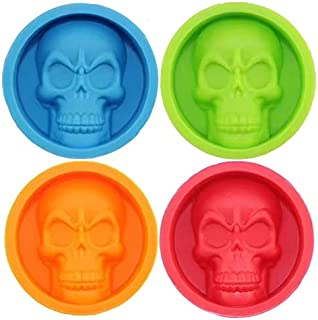Silicone Ice Block Skull Shape,Cake Pan Muffin Cups,3D BPA Free Bakeware, DIY Craft Mold, For Cake, Fondant, Candy, Chocolate, Baking Tool, Jello, Wafer and More