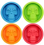 Silicone Ice Block Skull Shape, Halloween Caddy Cake Pan Muffin Cups, 3D BPA Free Bakeware, DIY Craft Blow Mold, For Fondant, Candy, Chocolate, Jello, Wafer
