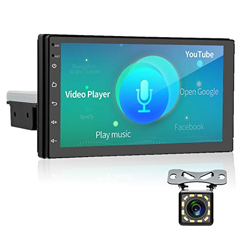 AMPrime Android 9.0 Single Din Car Stereo with NEXAI Intelligent Voice Bluetooth 7'' Touch Screen GPS Navigation Support WiFi/Dual USB/DVR Input/Mirror Link for Android iOS Phone + Backup Camera