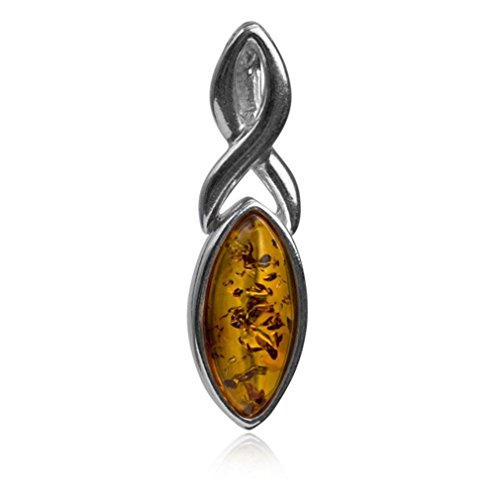 Amber Sterling Silver Celtic Marquise Pendant