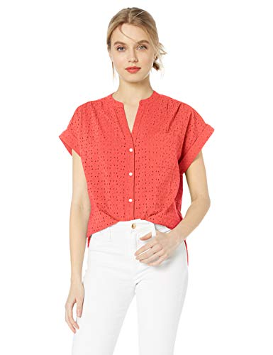 J.Crew Mercantile Women's Short-Sleeve Eyelet Camp Shirt, Autumn Coral, M Cotton Short Sleeve Camp Shirts