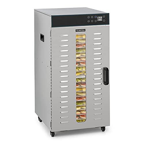 Klarstein Master Jerky 300 Pro deshidratadora profesional - 20 pisos, 2000 W, capacidad de 3,04 m², termostato: 40-90 °C, 25 kg de fruta y verdura, carcasa de acero inoxidable
