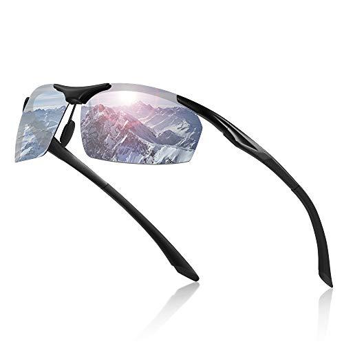 Avoalre Sportsonnebrille Sportbrille Verspiegelte Fahrradbrille Winddicht Sportsonnenbrille Polarisierte Sonnenbrille Herren, Fahrerbrille Skibrille Snowboard Brille Verspiegelt Schneebrille-Silber