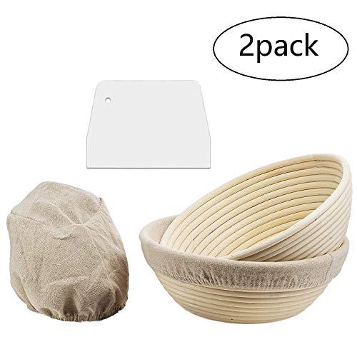 YUEMA 2 Stücke runder Gärkorb Gärkörbchen Brotkorb für selbstgemachtes Brot - Zero Waste Natur Gärkorb 13X6CM / 20X8CM mit Leinen Liner 13X6CM / 20X8CM mit weißer Kunststoffschaber