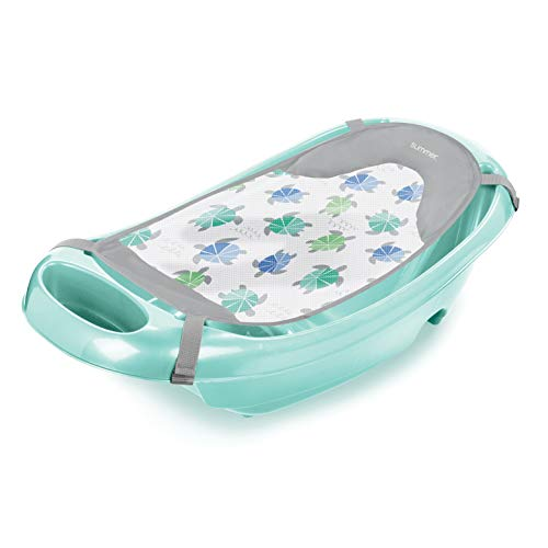 Summer Splish 'n Splash Newborn to Toddler Tub (Aqua) – 3-Stage Tub for Newborns, Infants, and Toddlers – Includes Fabric Newborn Sling, Cushioned Support, Parent Assist Tray, and a Drain Plug