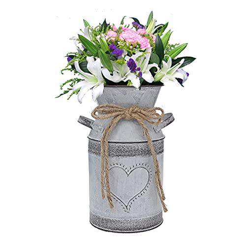 Vase Galvanisé Rustique, minghaoyuan, Vase Cruche Rustique Primitives, Vases à Fleurs en métal Style Shabby Chic pour Mariage, Maison, Bureau Déco,1PC