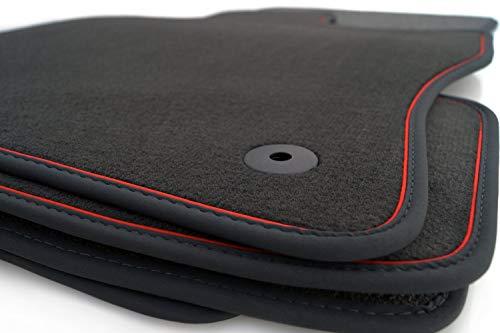Fußmatten passgenau für Golf 7 VII Velours Automatten Premium schwarz 4-teilig Nubuk schwarz Zierband rot