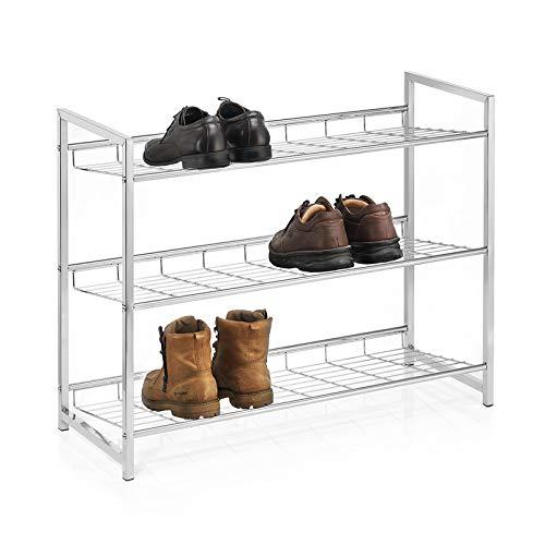 CARO-Möbel Schuhregal Valerio Schuhablage Schuhaufbewahrung, Metallgestell verchromt mit 3 Ablagen für bis zu 12 Paar Schuhe
