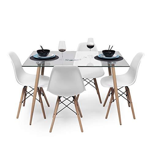 Conjunto de Comedor de diseño nórdico Cairo Tower Mesa de Cristal 120x80 cm y 4 sillas Tower (Blanco)