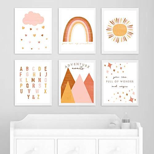 Impresión de arte de pared abstracto arcoíris citas de guardería póster para niños imágenes nórdicas minimalistas pintura en lienzo decoración de habitación de niños (30x50 cm) 6 piezas sin marco