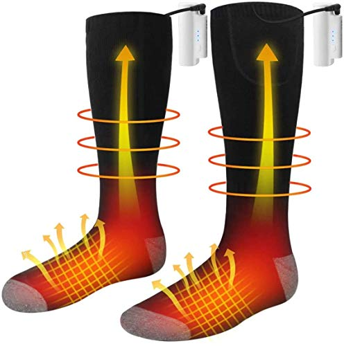 Heated Socks, Unisex Battery Powered Comfortable Thermo-Socks with 3 Heating Settings, Rechargeable Heated Socks for Motorcycle/Chronically Cold Feet/Winter Sport/Outdoor