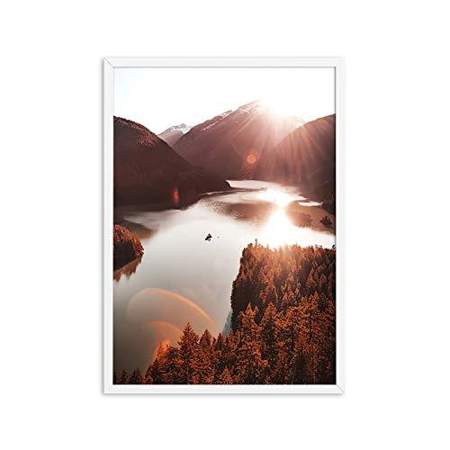 GKMM Lago Reflexión Imagen Naturaleza Paisaje Escandinavo Cartel Nórdico Decoración Impresión Landscal Landscape Ring Wall Art Canvas Painting20x28in Sin Marco