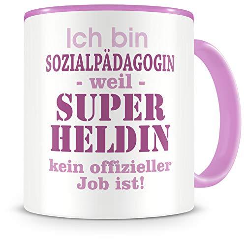 Samunshi® Ich bin Sozialpädagogin Tasse Beruf Geschenk Kaffeetasse Teetasse Kaffeepott Kaffeebecher Becher in 2 Größe und 372 Farben (Sozialpädagogin 300ml rosa/rosa)