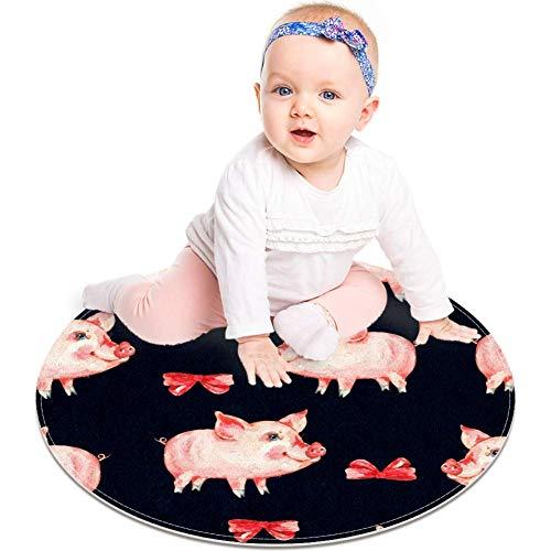 Alfombrilla antideslizante con diseño de cerdito y lazo rojo de acuarela, 23.6 pulgadas, para dormitorio de niños, habitación de bebé, sala de juegos, guardería