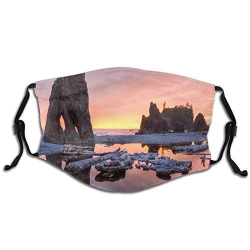 FULIYA - Bandana lavable reutilizable estampada 3D transpirable con filtro, diseño de puesta de sol sobre el tema del mar y la madera flotada en la playa rubí