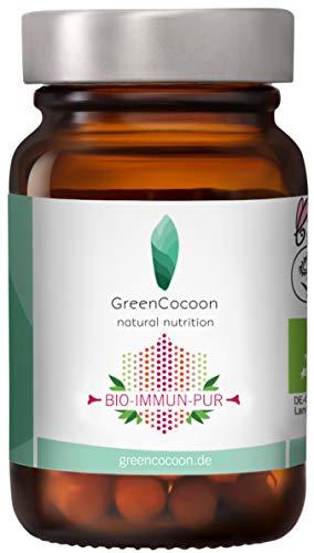 BIO IMMUN PUR Kapseln - GreenCocoon – mit BIO Acerola, Sanddorn, Ingwer, Igelstachelbart Pulver Bio-Zertifiziert (Glas 30 Kapseln)