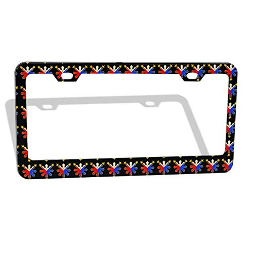POUDBDH Licenses Plate Covers Holders,Pinoy Filipino Flag Stars Flat License Plate Frame Tag Holder Cover