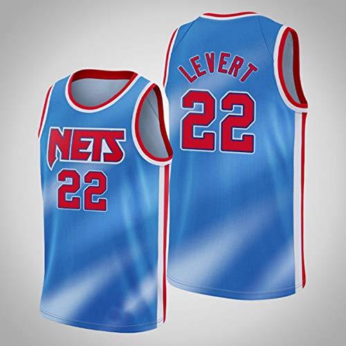 ATI-HSKJ Caris Levert 22# Trikots, Brooklyn Nets Herren Basketballkleidung Coole Atmungsaktive Stoff Swingman Ärmellose Weste Top Kleidung,S(165~170CM/50~65KG)