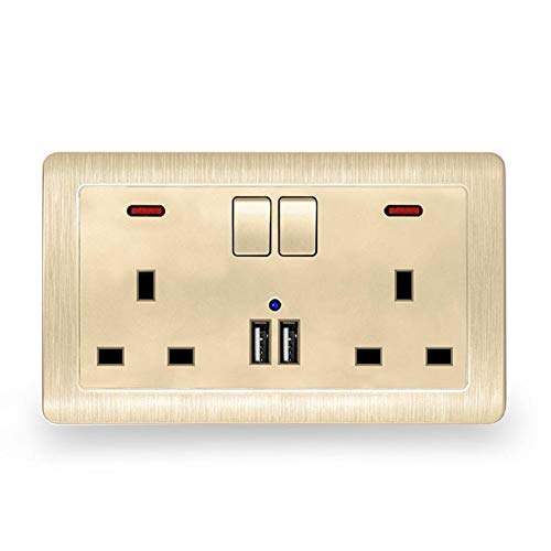Double Paroi De L/'UE Plug Socket 16 A 2 PORTS USB Screwless Slim Plat Plaque prise murale