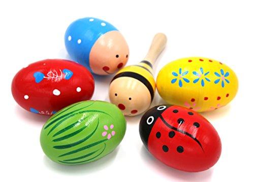 Set di 6 maracas, 5 pezzi a forma di uovo colorato in legno per bambini (colori assortiti) e 1 mini maracas a forma di sfera di legno (colore casuale), strumenti a percussione per bambini