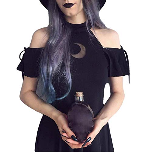 Forthery Crescent Moon Cold Shoulder Black Gothic Tunic Party Midi Dress(Black,S)