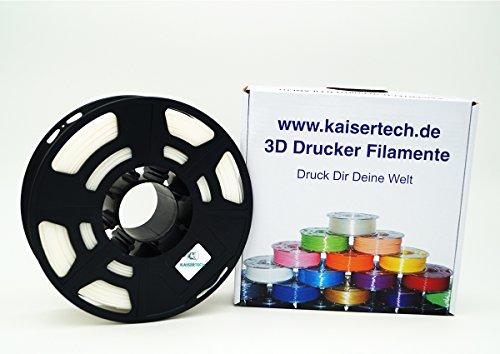 Kaisertech Filament für 3D Drucker 1kg PLA 1.75mm Weiß - Premium Qualität Spule Rolle