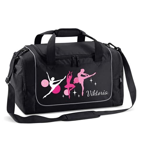 Mein Zwergenland Sporttasche Kinder personalisierbar 38L, Kindersporttasche mit Name und Ballerina Bedruckt in Schwarz