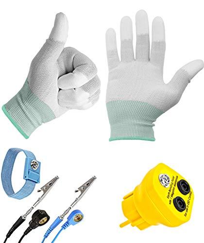 Minadax Erdungsbaustein + Manschette mit 1,70m Verlängerung - EBP - Innovativer ESD Antistatik Schutzkontaktstecker Erdungsstecker + ESD Antistatik Handschuhe Gr: L