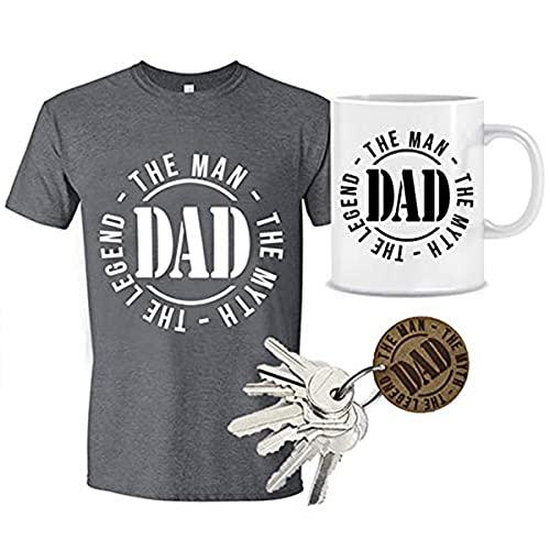 MIMUSELINA Regalo Padres Primerizos | Regalo Original para Papas | Pack Dia del Padre de Camiseta (Talla M), Taza y Llavero de Madera Dad, con Sello