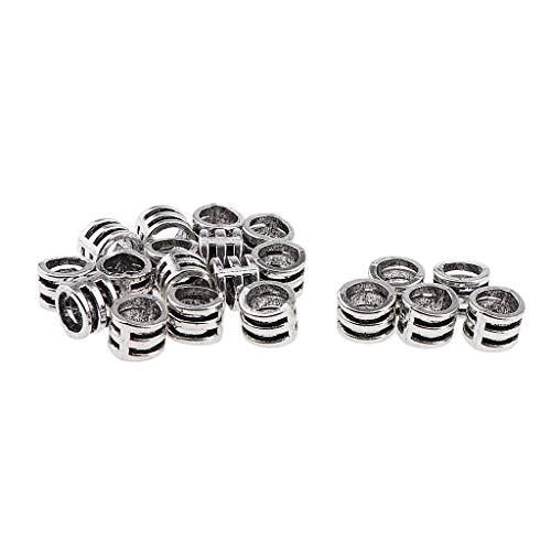 perfeclan Dreadlock Beads Para El Pelo Trenza Del Pelo Anillos Cuff Clips Joyería Del Pelo Para Extensiones De Cabello Barba - Plata, 20pcs