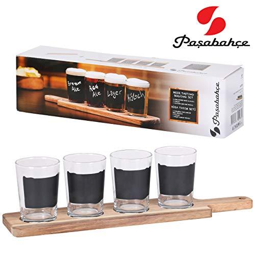 Juego de 7 vasos de cerveza de 197 ml con tabla de servir de madera con asas, 4 vasos de cerveza con etiquetas y tizas para escribir en las copas